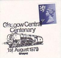 1979 GB Stamps COVER EVENT Pmk Illus GLASGOW RAILWAY CENTENARY STEAM TRAIN , Heraldic Lion Regional - Trains