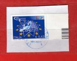 Italia- °-2004- COSTITUZIONE EUROPEA - Unif. 2827. Su Frammento Usato.   Vedi Descrizione - 2001-10: Usati