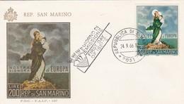 NOSTRA SIGNORA DI EUROPA, REP DI SAN MARINO OBLITERE FDC 1966 - BLEUP - FDC