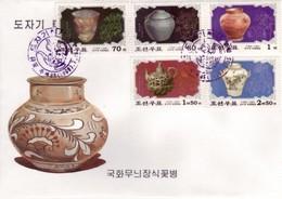 Korea 1999 Korean Ceramics 5v Perf + IMPERF Set Of 2 FDC's Art Antiquities Antiques - Porcelain