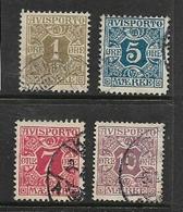 Denmark, 1901, Newspaper Stamps, 1 Ore, 5 Ore, 7 Ore, 10 Ore, Used - 1864-04 (Christian IX)