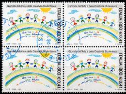 REPUBBLICA 2001 - GIORNATA DELL'ARTE E DELLA CREATIVITA STUDENTESCA - 1 VALORE IN QUARTINA - 2001-10: Usati