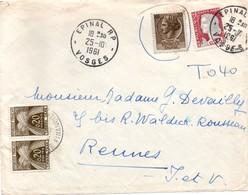 Epinal 1961 - Lettre Taxée 0,40 F Pour Emploi D'un Timbre Italien Avec Marianne Decaris YT 1263 - !!! Devant De Lettre ! - Marcophilie (Lettres)