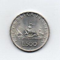 """ITALIA - 1965 - 500 Lire """"Caravelle"""" - Argento 835 - Peso 11 Grammi - (MW2156) - 1946-… : Repubblica"""