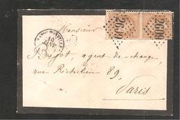 Enveloppe De  NAPOLEONVILLE  GC 2609  Sur 10 C Empire  X 2 - 1853-1860 Napoléon III