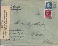 Bayern 1919, Brief M. 10+20 Pf. U.  Zensur V. Rosenthal Selb I.d. Schweiz. #2600 - Bayern