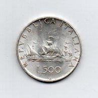 """ITALIA - 1958 - 500 Lire """"Caravelle"""" - Argento 835 - Peso 11 Grammi - (MW2158) - 1946-… : Repubblica"""