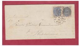 DANEMARK -- 2 SKILLING EN PAIRE -- LETTRE DE ROESKILDE POUR HEDEHUSENE -- CHIFFRE K58 - 1864-04 (Christian IX)