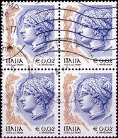 REPUBBLICA 2003 - DONNE NELL'ARTE, DONNA 0,02 - 1 VALORE IN QUARTINA - 2001-10: Usati