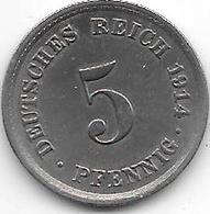 Empire 5 Pfennig  1914 A  Km  11    Xf - [ 2] 1871-1918 : Empire Allemand