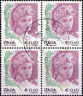 REPUBBLICA 2004 - DONNE NELL'ARTE, DONNA 0,10 - 1 VALORE IN QUARTINA - 2001-10: Usati