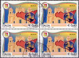 REPUBBLICA 2008 - REGIONI D'ITALIA, SICILIA - 1 VALORE IN QUARTINA - 2001-10: Usati