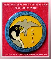SUPER PIN'S ASSOCIATIONS-RAPACES :FRIR FOND D'INTERVENTION REGIONAL Pour Les RAPACES Base Email Noir Vernis Diamètre 3cm - Associations