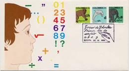 Lote 1443-4-5F, Colombia,1980, SPD-FDC, Aprenda A Escribir, Alfabeto, Alphabet, Ch, D, E, Dolphin, Elephant, Chimpanzee - Kolumbien