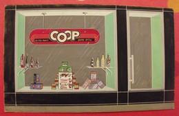 Maquette Gouache D'une Plaque Magasin Coop. Marcel Jost, Strasbourg.vers 1960 - Plaques En Carton