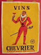 Maquette Gouache D'une étiquette De Vin. Vins Chevrier. Coulanges-les-Nevers. Dejoie Vers 1960 - Alcohols