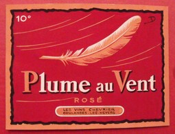 Maquette Gouache D'une étiquette De Vin. Plume Au Vent. Vins Chevrier Coulanges-les-Nevers. Dejoie Vers 1960 - Alcohols