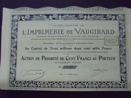 IMPRIMERIE DE VAUGIRARD - ACTION DE PRIORITE DE 100 FRS - PARIS 1931 - ILLUSTRATION ART DECO - Shareholdings