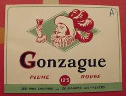 Maquette Gouache D'une étiquette De Vin. Gonzague. Vins Chevrier Coulanges-les-Nevers. Dejoie Vers 1960 - Alcools