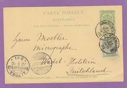 ENTIER POSTAL D'ANVERS POUR WEDEL-HOLSTEIN,2 CACHETS D'ARRIVÉES.ALTONA + WEDEL. - Entiers Postaux