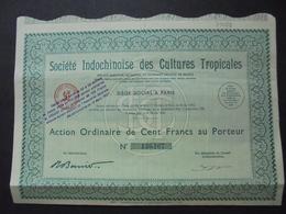 INDOCHINE - STE INDOCHINOISE DES CULTURES TROPICALES - ACTION ORDINAIRE DE 100 FRS - PARIS 1935 - Shareholdings