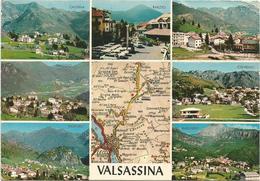 W2332 Valsassina (Lecco) - Carta Geografica Map Carte Geographique - Cassina Barzio Pasturo Cremeno / Viaggiata 1975 - Carte Geografiche