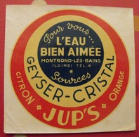 Décalcomanie Sources Geyser-Cristal. Jup's Citron Orange Montrond-les-bains (Loire). Vers 1960 - Pegatinas
