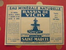 étiquette Eau Minérale Naturelle. Bassin De Vichy.  Source Saint-Marcel Cusset. Vers 1960 - Advertising