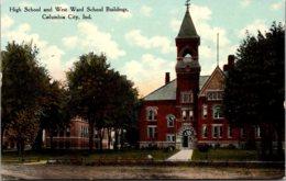 High School And West Ward School Buildings Columbia City Indiana Curteich - Schools