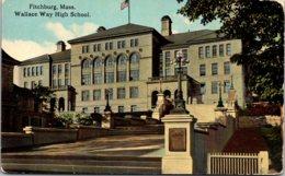 Wallace Way High School Fitchburg Massachusetts 1914 Curteich - Schools