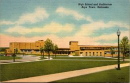 High School And Auditorium Boys Town Nebraska Curteich - Schools