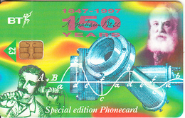 UK - 150th Anniversary Of The Birth Of Alexander Graham Bell 3(PUB050A), Chip GPT2, Exp.date 31/03/99, Used - Telefoni