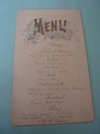MENU -1896  Meu En Relief Avec Dorure Et Paillette   Dessin Floral    .AVRIL 2019  Alb 06 - Menus