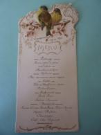 MENU -1897      Allégorie  Printanière Arabesque Doré  Chromo Oiseau  Branche Fleurie  .AVRIL 2019  Alb 10 - Menu