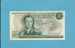 LUXEMBOURG - 10 Francs - 20.03.1967 - P 53  - Grand Duke Jean / Grand Duchess Charlotte Bridge- 2 Scans - Luxembourg