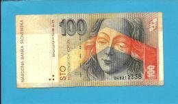 SLOVAKIA - 100 KORUN - 1993 - Pick 22.a - Prefix D - Národná Banka Slovenska - 2 Scans - Slovakia