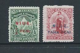 Niue 1902 Overprints On 1/2d & 1d New Zealand Mint - Niue
