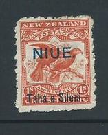 Niue 1903 Overprints On 1/- Orange Red New Zealand Kea & Kaka Birds Mint - Niue