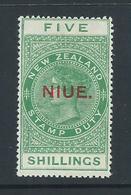 Niue 1918 - 1923 Overprints On  New Zealand QV Postal Fiscals 5/- Green MLH - Niue
