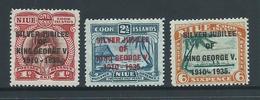 Niue 1935 KGV Silver Jubillee Overprint Set 3 Fresh Mint - Niue