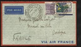 Lettre Avion Air France Rio De Janeiro Le 25/05/1935  N°207 Et PA N°31 Arrivée Mareuil Sur Belle Le 03/06/1935   B/TB - Covers & Documents