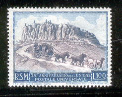 SAN MARINO 1949 Stagecoach On Road (UPU 75th Anniv.) Scott Cat. No(s). 304 MH - Unused Stamps