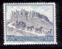 SAN MARINO 1949 Stagecoach On Road (UPU 75th Anniv.) Scott Cat. No(s). 304 MNH - Unused Stamps