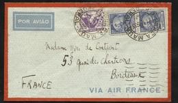 Lettre Avion Air France Praca Maua (Rio) 21/02/1935 N° 261 Et 180x2 à Bordeaux Le 28/02 Via Toulouse Le 27/02/1935 B/ TB - Brésil
