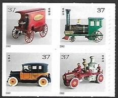 US  2002   Sc#3645a  37c Antique Toys Block Of 4   MNH  Face Value $1.48 - Nuevos