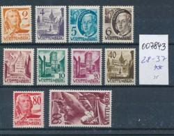 Würtemberg Nr. 28-37 **    (oo7843  ) Siehe Scan - Französische Zone
