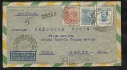 Lettre Recommandée Par Avion De Dreher Porto Alegre 06/12/1946 Pour Bondy Le 12/12/1946 Les N° 387,391 Et 393   B/ TB - Covers & Documents