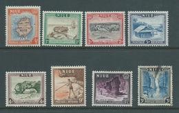 Niue 1950 Definitives Part Set Of 8 To 3/- , 6 Values MNH , 1 FU , 1 MLH - Niue