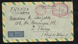 Lettre Recommandée(N°14776) Par Avion Rio De Janeiro 17/01/1949 à Thiers 21/01/1949 EMA Brasil 1290 De Cr$  730  B/ TB - Covers & Documents