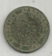 MONNAIE , ARGENTINE , Republica ARGENTINA , 1891 ,  Dos Centavos ,  2 Scans - Argentinië